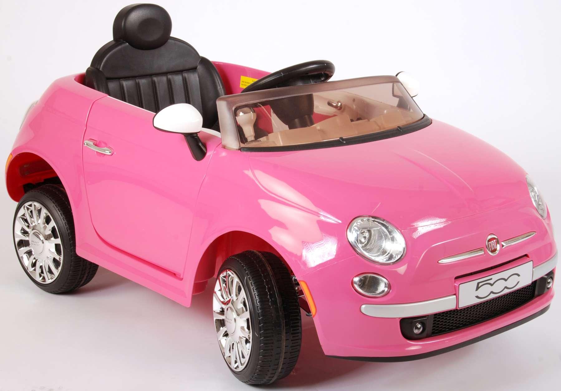 Fiat 500cc Rose Voiture Electrique Avec Telecommande 12 Volt