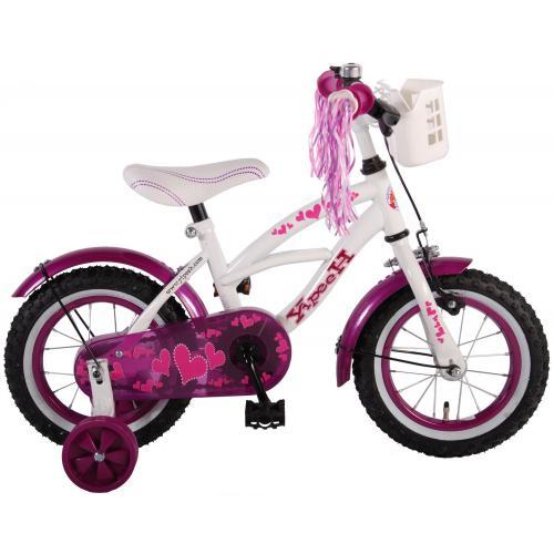 Volare Heart Cruiser Vélo enfants - Filles - 12 pouces - Blanc Violet