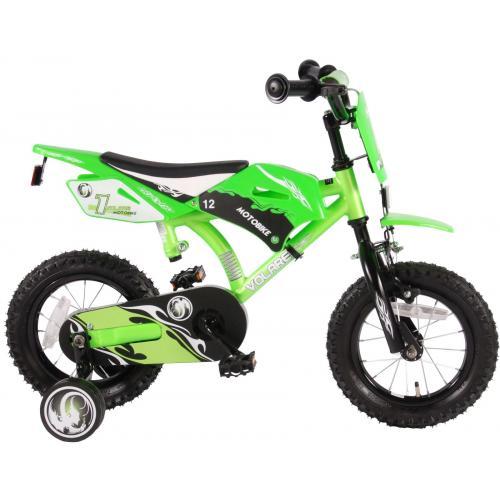 Vélo moto enfant Volare - garçon - 12 po - vert - assemblé à 95 %