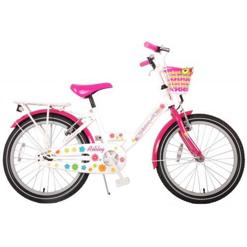Vélo Volare Ashley Kids - Filles - 20 pouces - Blanc/Rose - deux freins à main