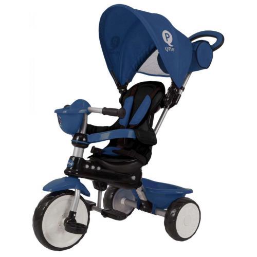 QPlay Tricycle Comfort 4 en 1 -  Garçons et filles -  Bleu foncé