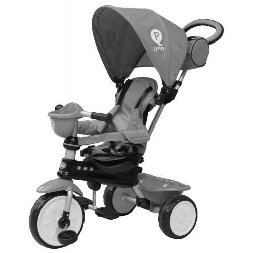 QPlay Tricycle Comfort 4 en 1 -  Garçons et filles -  Gris