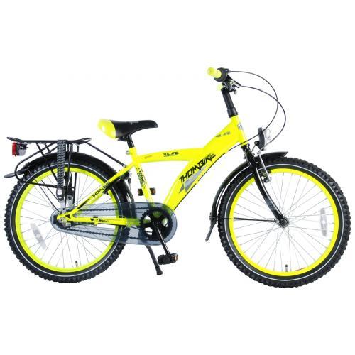 Volare Thombike City Vélo pour enfants - Garçons - 20 pouces - Jaune fluo - monté à 95% - Shimano Nexus 3 vitesses