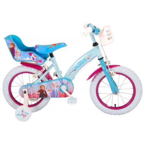 Vélo enfant Disney La reine des neiges 2 - fille, 14 po - bleu/mauve - 2 leviers de frein