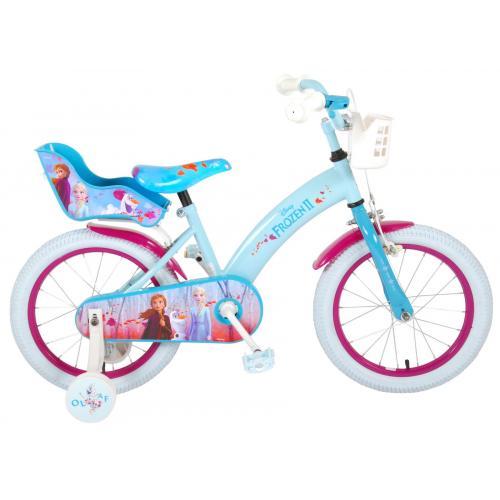 Vélo enfant Disney La reine des neiges - Fille - 16 po - Bleu/Blanc/Mauve - 2 leviers de frein