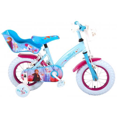 Vélo enfant Disney La reine des neiges 2 - fille - 12 po - bleu/mauve - 2 leviers de frein