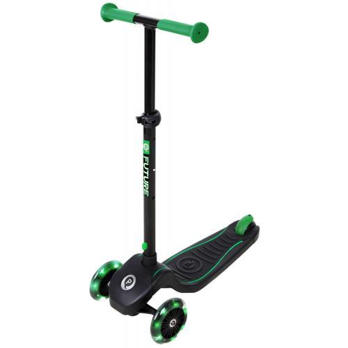 QPlay Future Scooter - Garçons et filles - Noir et vert - Éclairage LED