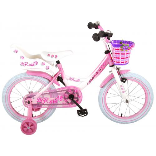 Vélo enfant Volare Rose - Fille - 16 po - Rose/Blanc - assamblé à 95%