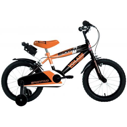 Vélo pour enfants Volare Sportivo - Garçons - 14 pouces - Orange fluo noir - Freins à deux mains
