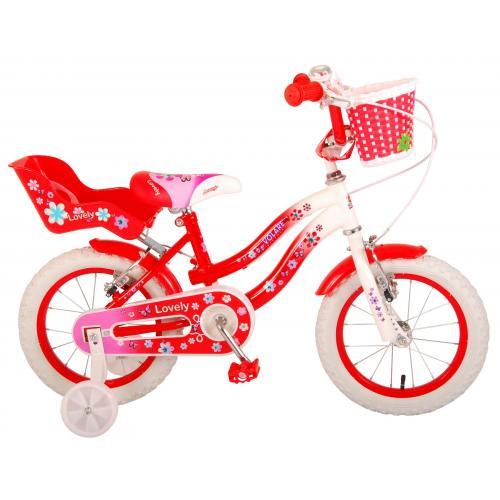 Vélo d'enfant Volare Lovely - Filles - 14 pouces - Rouge Blanc - Deux freins à main - 95% assemblé
