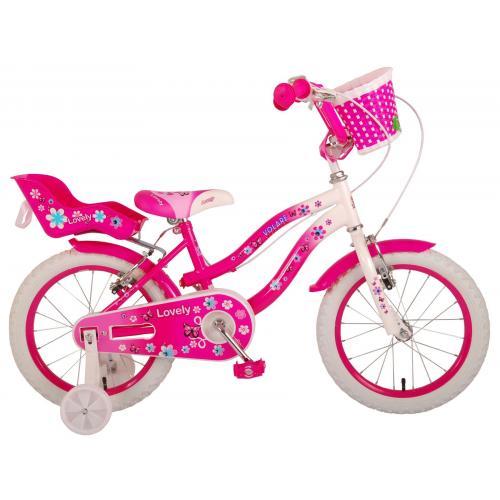 Vélo d'enfant Volare Lovely - Filles - 16 pouces - Rose Blanc - Deux freins à main - 95% assemblé