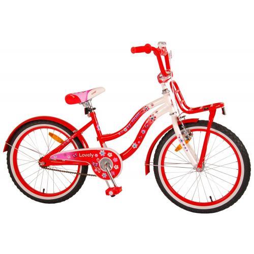 Vélo pour enfants Volare Lovely - Filles - 20 pouces - Rouge Blanc - 95% assemblé