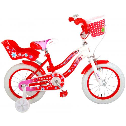 Vélo d'enfant Volare Lovely - Filles - 14 pouces - Rouge - 95% assemblé