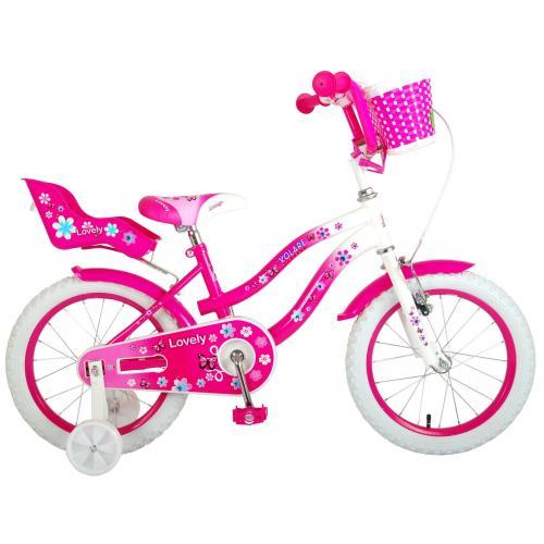 Vélo d'enfant Volare Lovely - Filles - 16 pouces - Rose Blanc - 95% assemblé