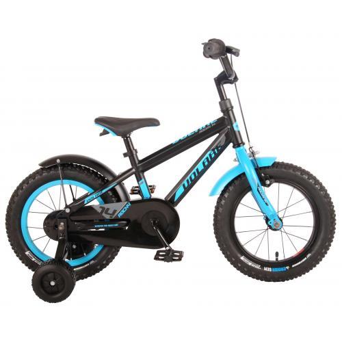 Vélo enfant Volare Rocky - Garçons - 14 pouces - Bleu noir - assemblé à 95% - Prime Collection