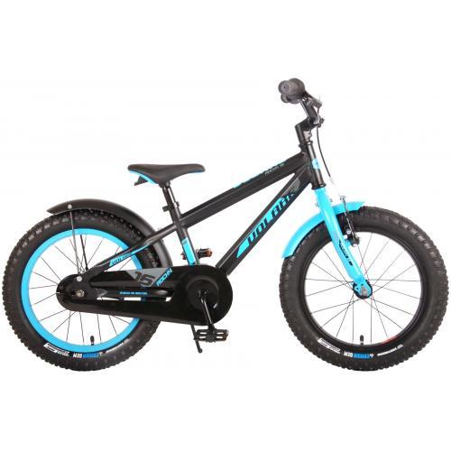Vélo pour enfants Volare Rocky - 16 pouces - Noir Bleu - 95% assemblé - Prime Collection