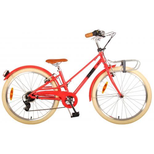 Vélo pour enfants Volare Melody - Filles - 24 pouces - Rouge pastel - 6 vitesses - Prime Collection