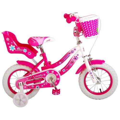 Vélo d'enfant Volare Lovely - Filles - 12 pouces - Rose Blanc - 95% assemblé