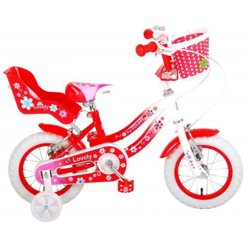 Vélo d'enfant Volare Lovely - Filles - 12 pouces - Rouge Blanc - Deux freins à main - 95% assemblé