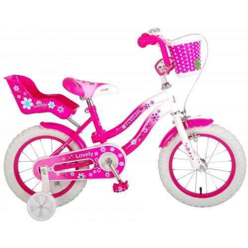 Vélo d'enfant Volare Lovely - Filles - 14 pouces - Rose Blanc - 95% assemblé
