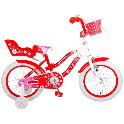 Vélo d'enfant Volare Lovely - Filles - 16 pouces - Rouge - 95% assemblé