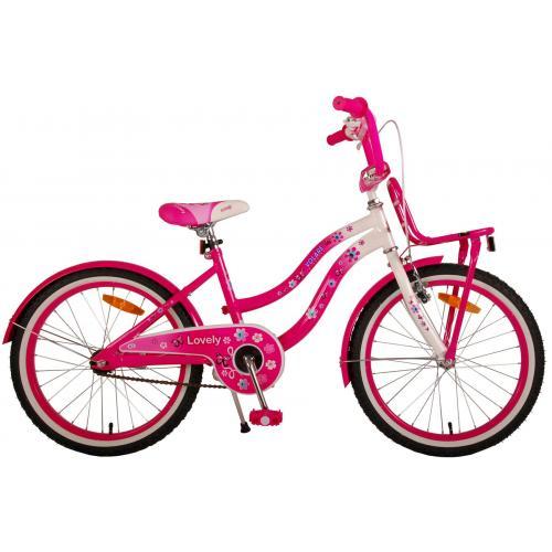 Vélo pour enfants Volare Lovely - Filles - 20 pouces - Rose Blanc - 95% assemblé