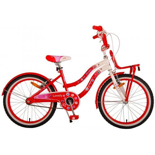 Vélo pour enfants Volare Lovely - Filles - 20 pouces - Rouge Blanc - Deux freins à main - 95% assemblé