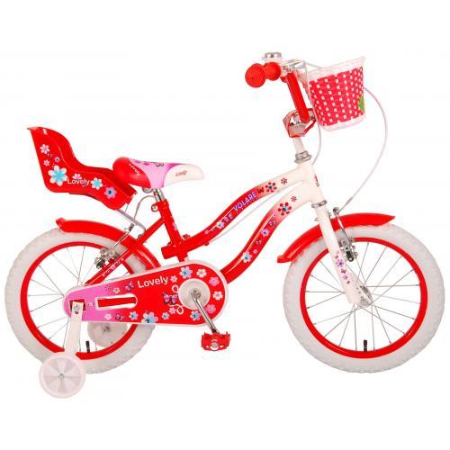 Vélo d'enfant Volare Lovely - Filles - 16 pouces - Rouge Blanc - Deux freins à main - 95% assemblé