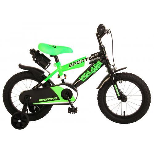 Vélo pour enfants Volare Sportivo - Garçons - 14 pouces - Vert fluo noir - 95% assemblé