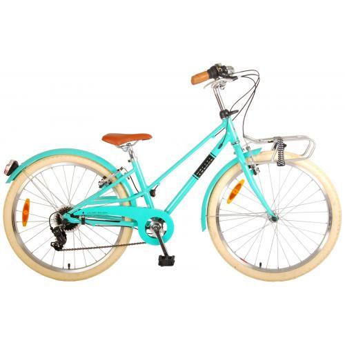 Vélo pour enfants Volare Melody - Filles - 24 pouces - turquoise - 6 vitesses - Prime Collection