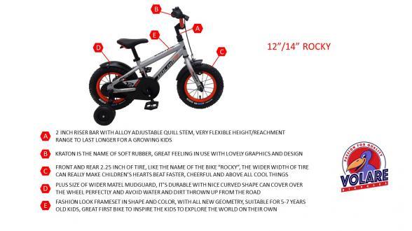 Vélo enfant Volare Rocky - Garçons - 14 pouces - Argent