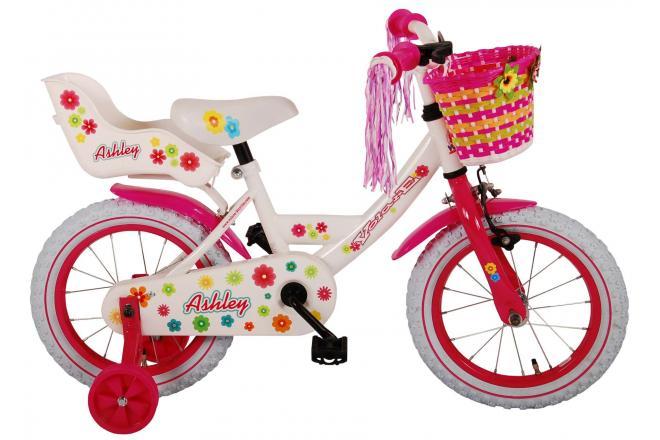 Vélo enfant Volare Ashley - fille - 14 po - blanc - assemblé à 95%