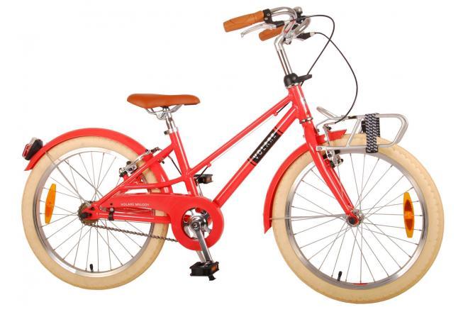 Vélo pour enfants Volare Melody - Filles - 20 pouces - rouge pastel - deux freins à main - Prime Collection