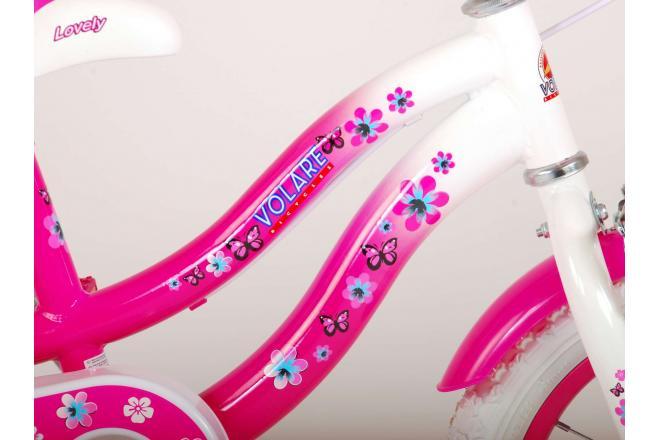 Vélo d'enfant Volare Lovely - Filles - 14 pouces - Rose Blanc - Deux freins à main - 95% assemblé